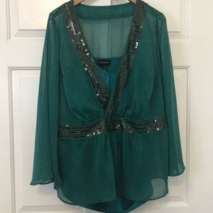 Lane Bryant Green Sequined Blouse